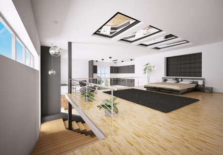 Interior of modern bedroom in apartment 3d render Stock Photo - 7991049