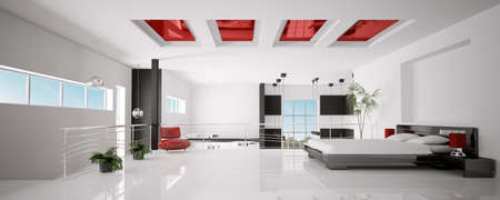 Interior of modern white red black bedroom panorama 3d render photo