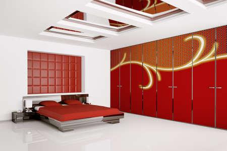 Interior of modern bedroom 3d render Stock Photo - 7991050