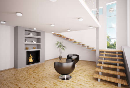 Modern interior of living room with fireplace and staircase 3d render Stock Photo - 7991055
