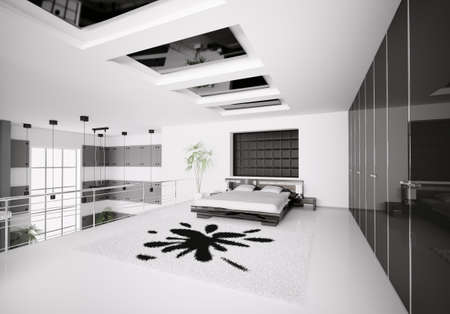 Interior of modern white black bedroom 3d render photo