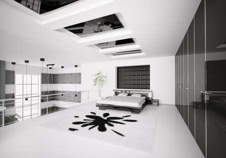 Interior of modern white black bedroom 3d render Stock Photo - 7991054