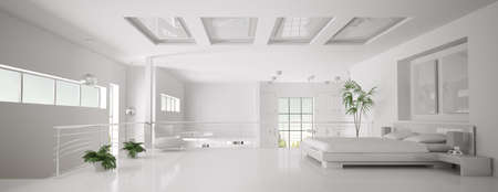 lofts: Interior of white bedroom panorama 3d render