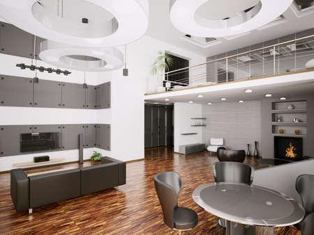 Interior of modern apartment living room 3d render photo