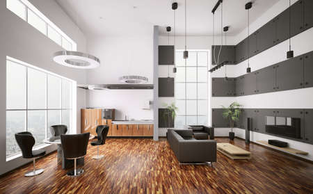 Interior of modern apartment living room kitchen 3d render Stock Photo - 7991057