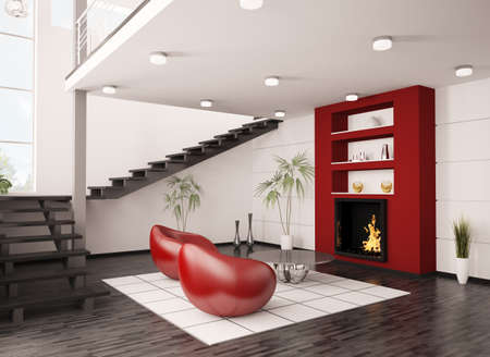 Modern interior of living room with fireplace and staircase 3d render photo