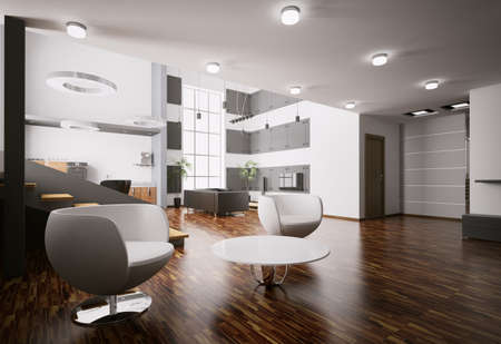 Interior of modern apartment living room kitchen hall 3d render