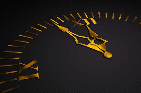 Black clock with golden hands 3d render photo
