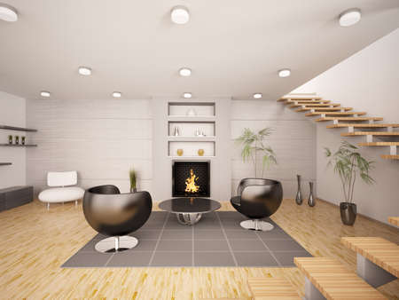 Modern interior of living room with fireplace and staircase 3d render Stock Photo