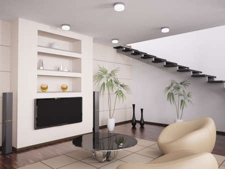 Int�rieur de la salle de s�jour moderne avec fauteuils et LCD rendu 3d