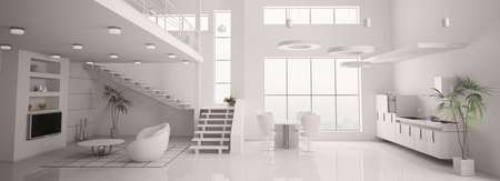 White modern interior of apartment panorama living room kitchen 3d render photo