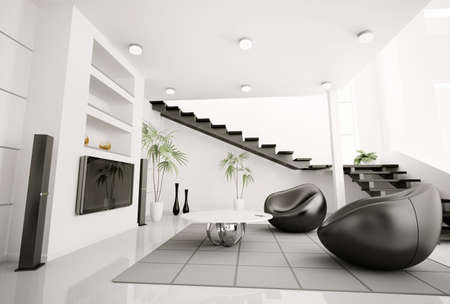 modern interior architecture: Living room interior black armchairs and lcd 3d render
