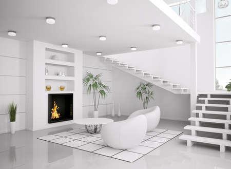 Modern int�rieur blanc du salon avec chemin�e et escalier rendu 3d  Banque d'images