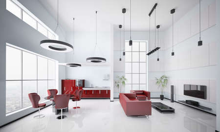 Interior of modern apartment living room kitchen 3d render photo