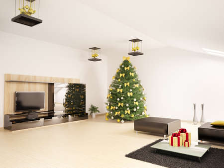 Christmas fir tree with decorations in modern living room interior 3d render photo