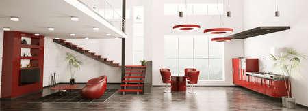 Int�rieur moderne de panorama vie en appartement cuisine rendu 3d