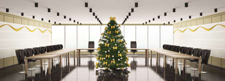 Christmas fir tree in modern boardroom interior panorama 3d photo