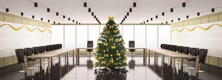 abeto: Christmas fir tree in modern boardroom interior panorama 3d Imagens