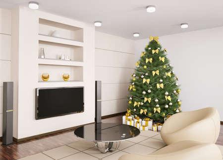 weihnachten tanne: Tanne Weihnachtsbaum mit Dekorationen im modernen Wohnzimmer interior 3d render Lizenzfreie Bilder