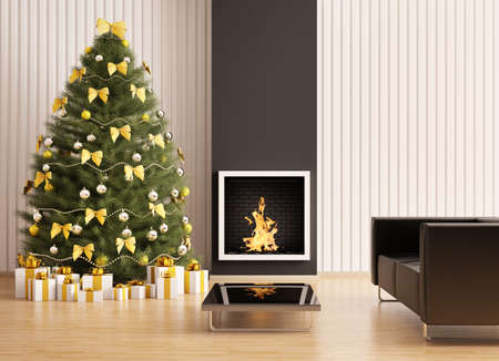 Christmas fir tree in the modern room with fireplace interior 3d render photo