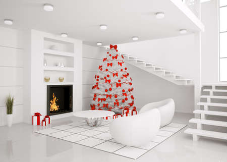 Christmas fir tree in the modern white room with fireplace interior 3d render photo