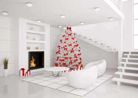 Kerst fir boom in de moderne witte kamer met open haard interieur 3d renderen
