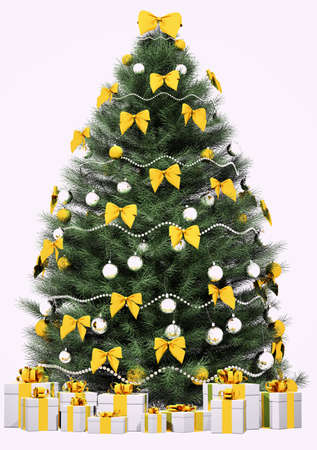 weihnachten tanne: Christmas Fir Tree dekoriert mit goldenen B�gen und Kugeln �ber die wei�en 3d render