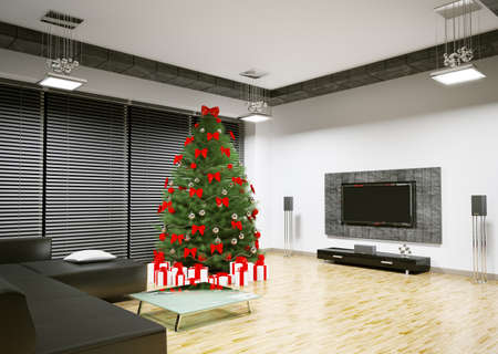 traditional living room: Christmas tree with red decorations in living room interior 3d render