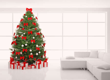 Christmas tree with red decorations in white room interior 3d render