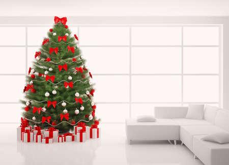 Kerst boom met rode decoraties in witte kamer interieur 3d renderen