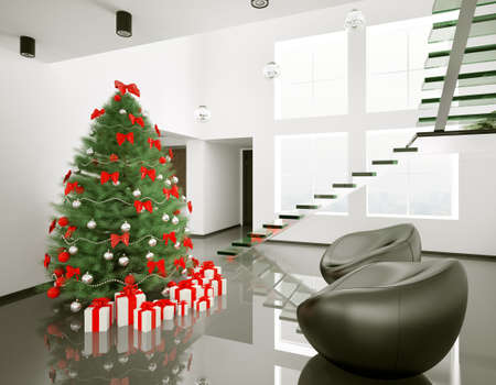 Christmas fir tree in the modern room interior 3d render photo