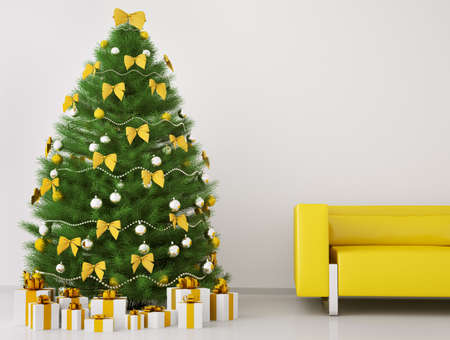 Christmas tree with decorations in the room with sofa interior 3d render photo