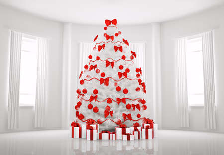 Christmas tree with red decorations in the white room interior 3d render Stock Photo