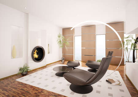 Modern interior of living room with fireplace 3d render photo