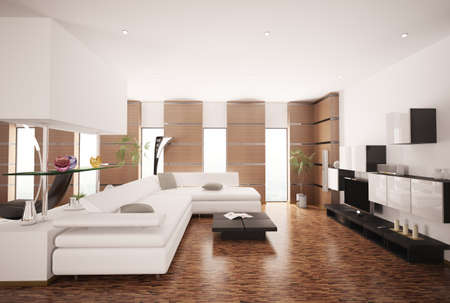 Modern living room with white sofa and LCD interior 3d render photo