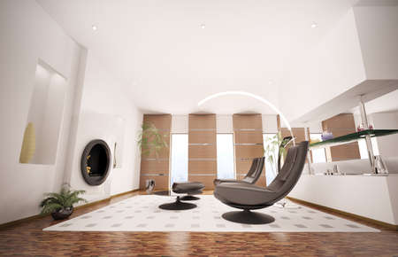 Modern inter of living room with fireplace and two black armchairs 3d render Stock Photo - 8334504