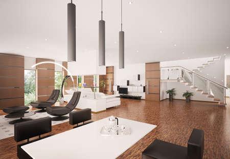 Inter of modern apartment living room 3d render Stock Photo - 8334505