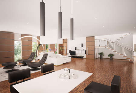 Interior of modern apartment living room 3d render Stock Photo - 8334505