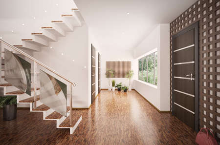 wooden stairs: Interior of modern entrance hall with staircase 3d render Stock Photo