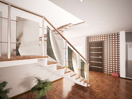 Interior of modern entrance hall with staircase 3d render photo