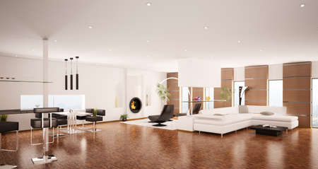 Interior of modern apartment living room panorama 3d render Stock Photo - 8334510