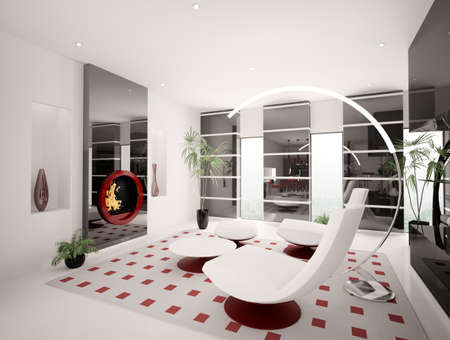 Modern interior of living room with fireplace 3d render Stock Photo - 8376333