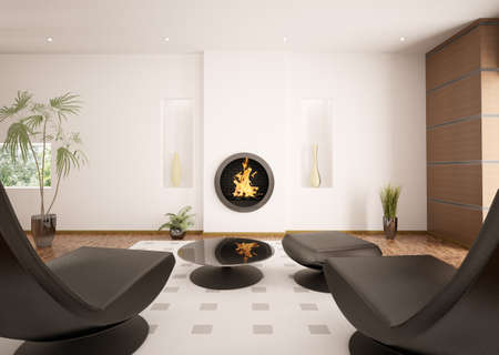 Modern interior of living room with fireplace and two black armchairs 3d render photo
