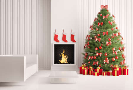Christmas fir tree in the modern room with fireplace interior 3d render