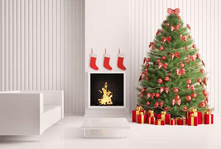 weihnachten tanne: Tanne Weihnachtsbaum in der modernen Zimmer mit Kamin interior 3d render Lizenzfreie Bilder