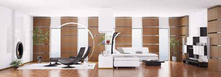 Interior of modern apartment panorama 3d render photo
