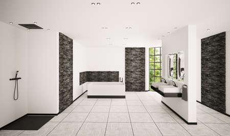 Modern bathroom with black brickwalls interior 3d render photo