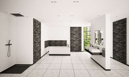 bathroom tile: Modern bathroom with black brickwalls interior 3d render