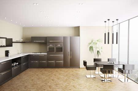Interior of modern black kitchen 3d render