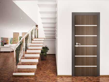 Inter of modern entrance hall with staircase 3d render Stock Photo - 8376341